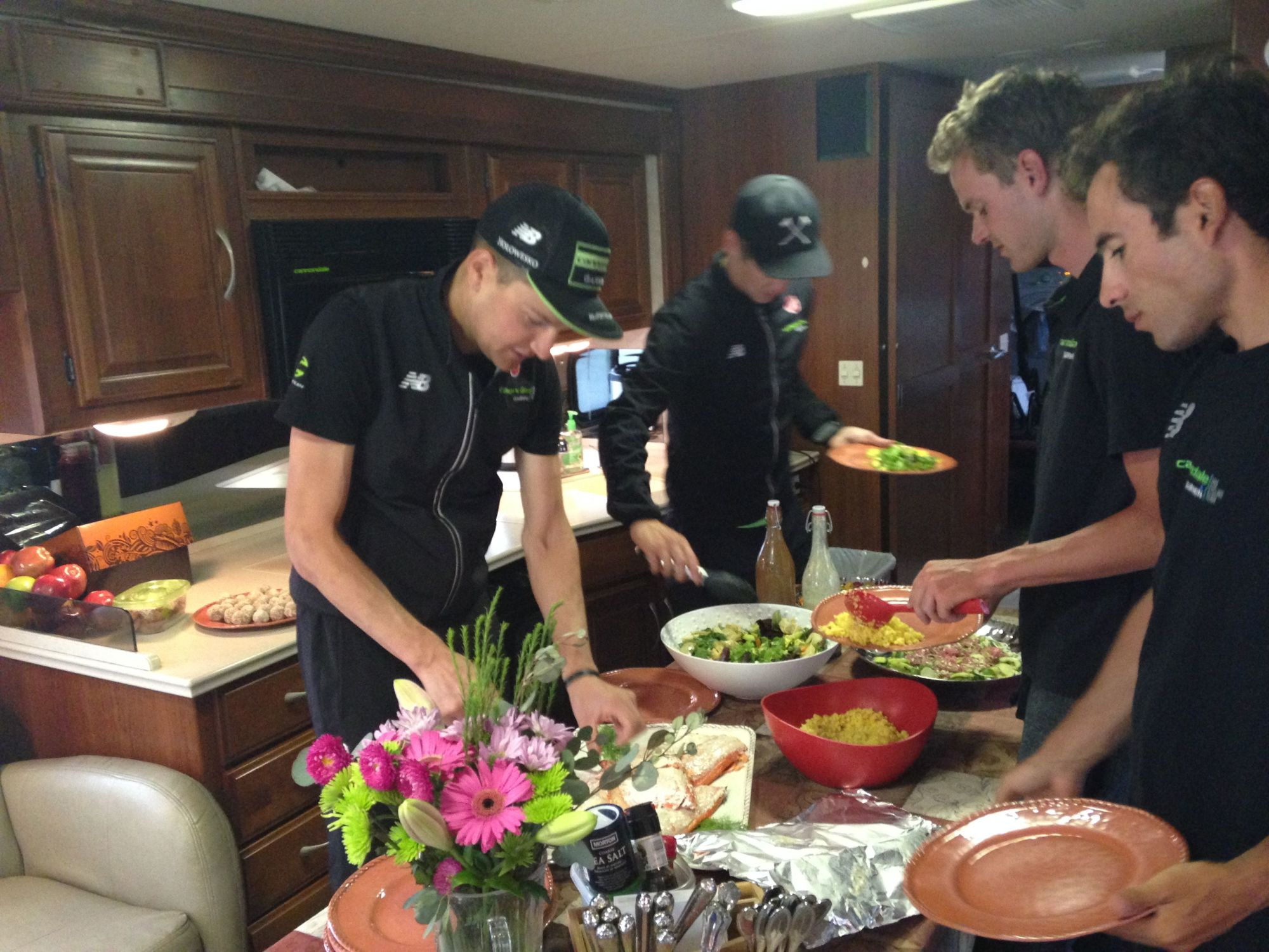 Colorado Wolrd Tour Pro Cycling Team eating meals